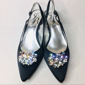 J. Renee jeweled gem & black satin sling heels 13